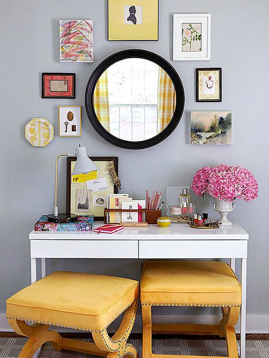 Create a chic vanity area in the bedroom, complete with flowers, artwork and bright pops of colour along the way.