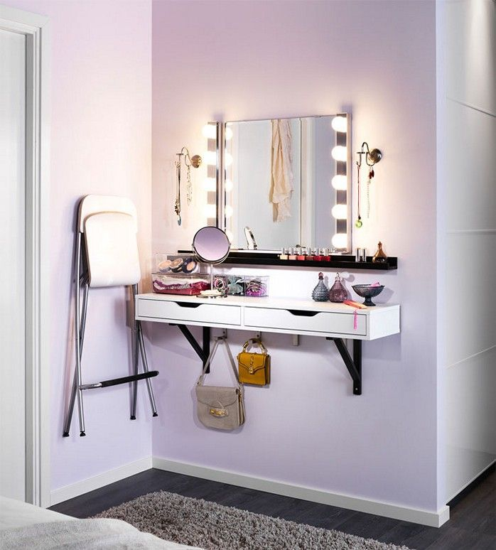 Another option for makeup vanity. Simple, affordable, space efficient.