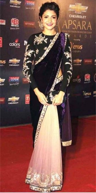 Anushka Sherma in onion pink and violet velvet saree with black highneck blouse