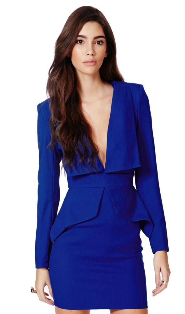 Royal blue dress with a deep V neck
