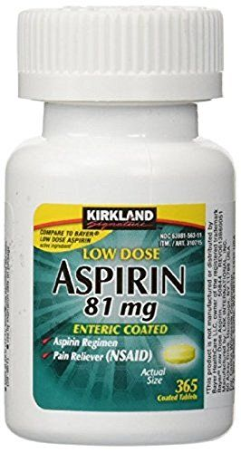 Kirkland Signature Low Dose Aspirin, 1 bottle - 365-Count Enteric Coated Tablets 81 mg each - Kirkland low dose aspirin is great for aspirin regimen and acts as a pain reliever.