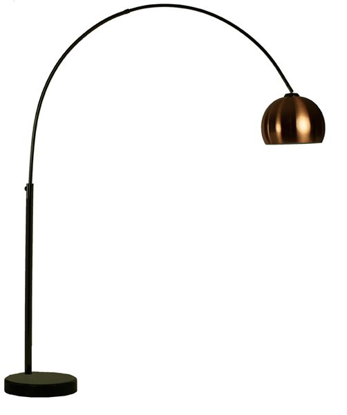 Goliath lounge 1 black chrome arc floor lamp with copper for Amalfi copper floor lamp