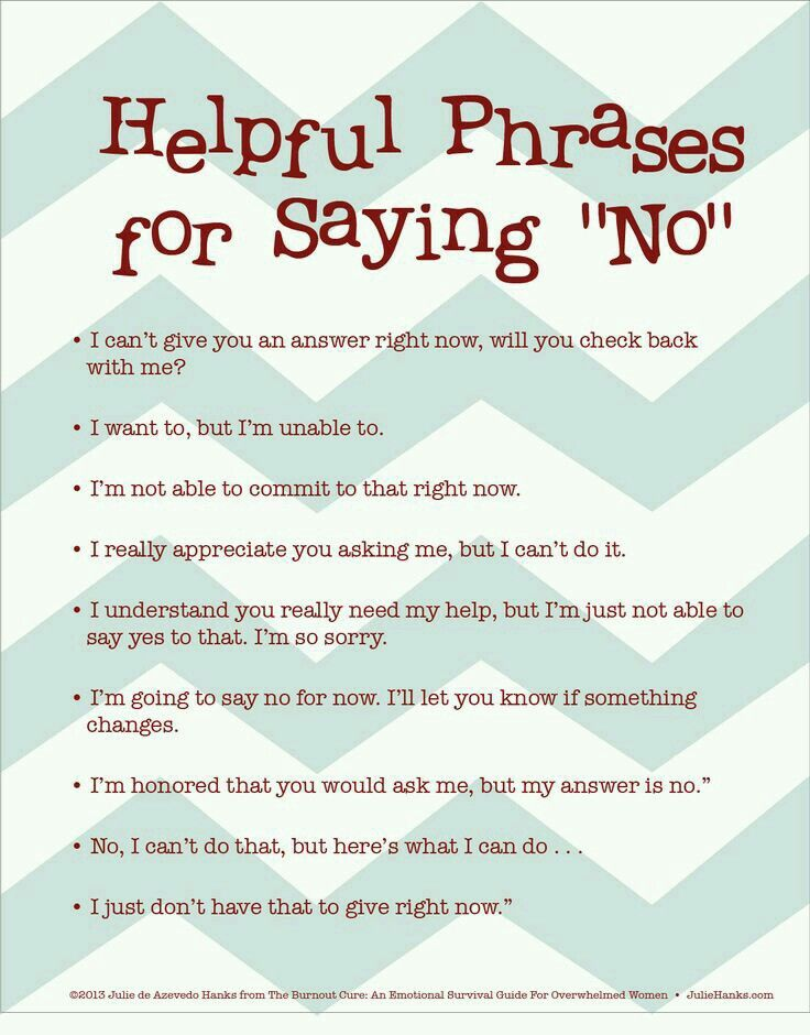 "Other ways of saying ""No"""