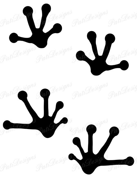 Frog Footprint Silhouette Animal Footprints Iron by PatiDesigns