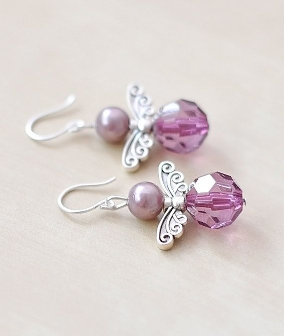 Angel Wings Earrings, Purple Pearl Jewelry, Wing Jewelry, Purple Earrings, Glass…