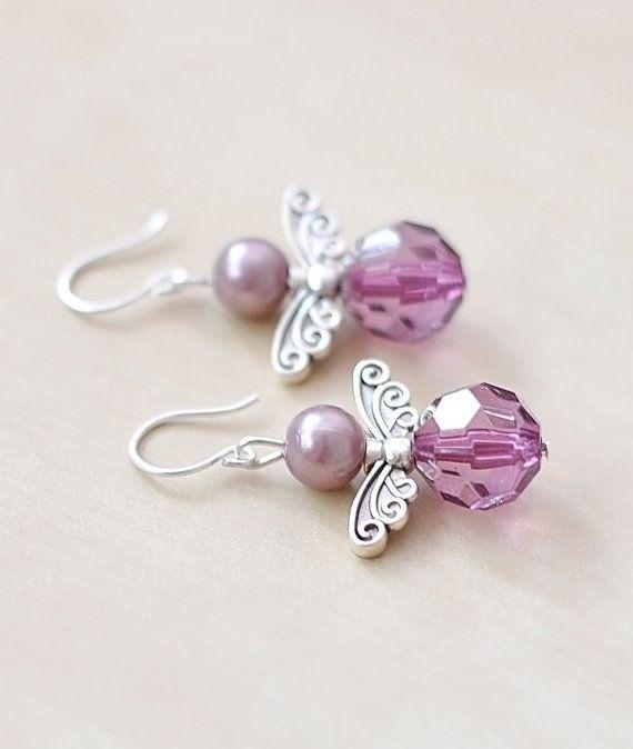 Angel Earrings Purple Pearl Jewelry Wing Jewelry by CraftDePeRaft, $12.50