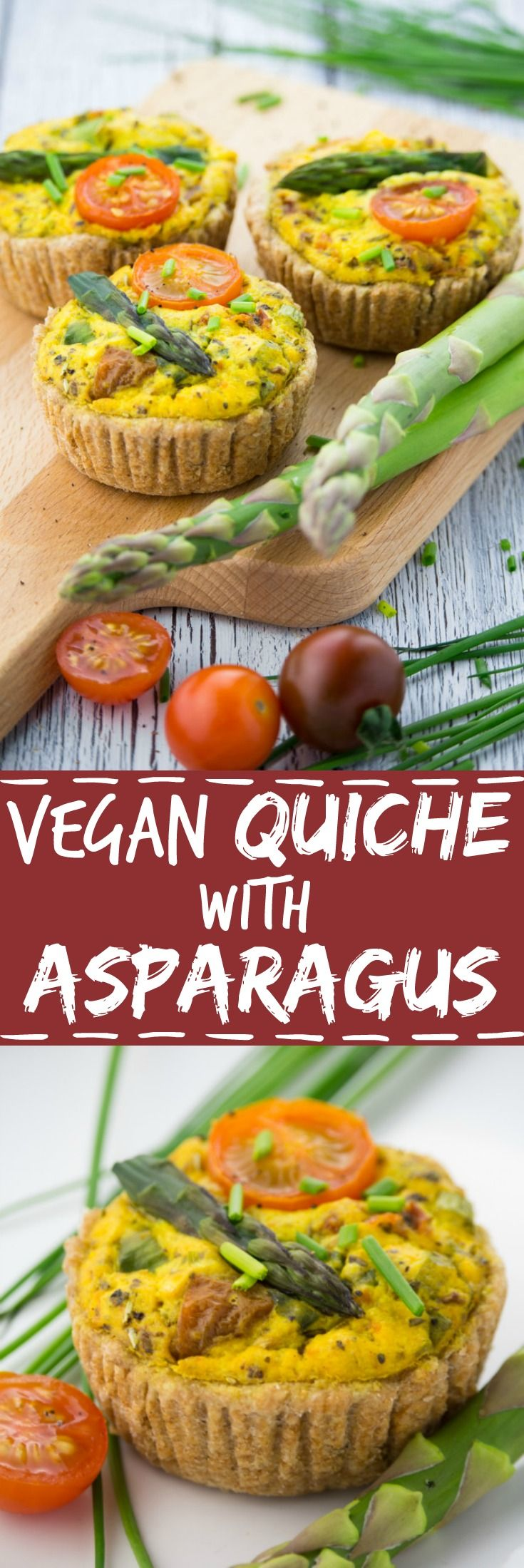 Vegan quiche with asparagus and cherry tomatoes - great with salad or as a hearty snack!