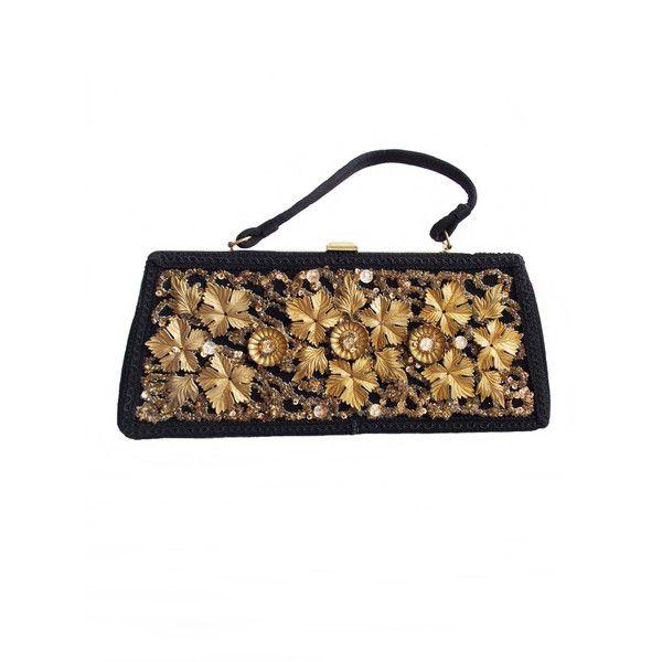 Large 1940s Black Gold Flower Leaf Embellished Handbag 40s Floral 2 855 Rub Liked On Polyvore Featuring Bags Handbags Man Bag Clear Handbags Flower