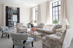 Living room - multiple chairs vs two couches love the pattern!