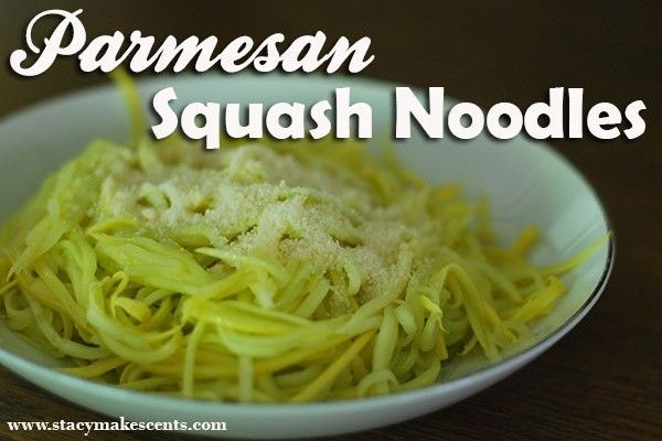 Parmesan Squash Noodles -      1 medium yellow squash or zucchini     1 tablespoon butter     Dash garlic powder     Dash onion powder     2 tablespoons Parmesan cheese         Slice squash into juliennes or use your julienne peeler.     Sauté in skillet with butter just until tender with garlic and onion powder.     Stir in Parmesan.     Serve.