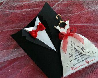 Invitaciones de boda novia y novio smoking por SarayaWedding