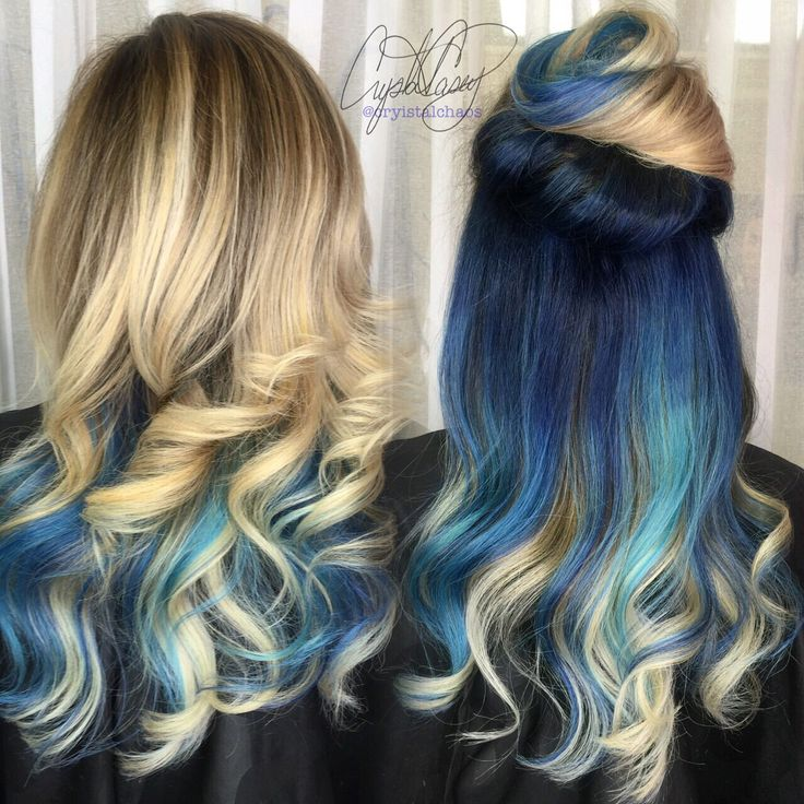 BLUE HAIR Instagram @CryistalChaos #virginiabeach #curls #ombre #underlights…