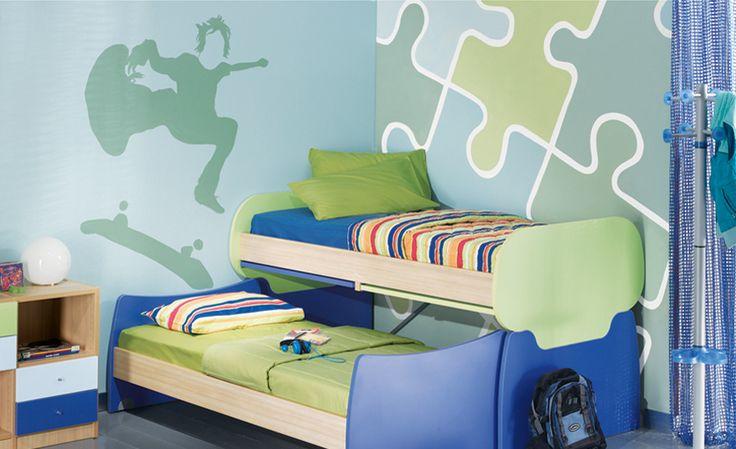 Ζωγραφικός τοίχος puzzle με διάφορους συνδυασμούς χρωμάτων. Δείτε περισσότερες πρωτότυπες ιδέες διακόσμησης για το παιδικό δωμάτιο στη σελίδα μας  www.artease.gr
