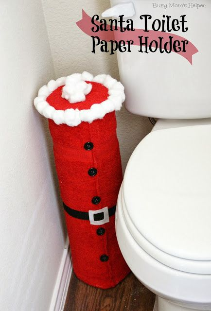 Super simple Santa Toilet Paper Holder - and it's replaceable! from www.BusyMomsHelper.com