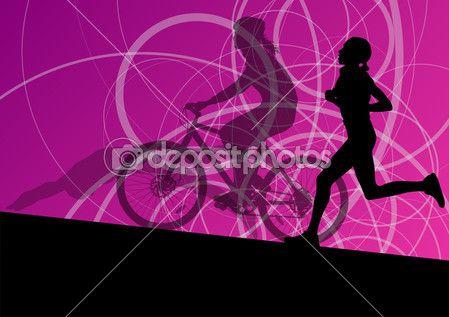 Yüzme ve Bisiklete binme daha triatlon maraton aktif genç kadın — Stok İllüstrasyon #39225945