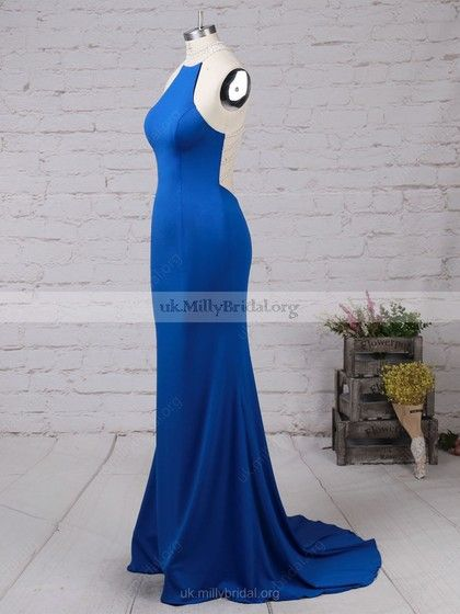 1992cd9adc9d Trumpet/Mermaid Jersey Sweep Train Beading Royal Blue High Neck Prom Dresses  #UKM020102490