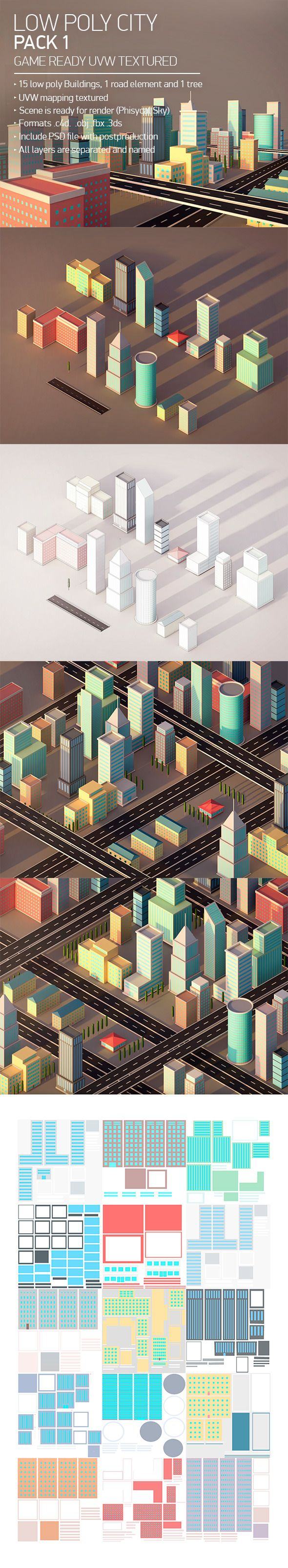 Low Poly City Pack 1 3D Models Design Template #cinema4d #3D Download here: https://3docean.net/item/low-poly-city-pack-1/12899950?ref=yinkira