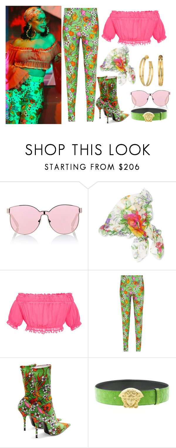 """""""Rihanna """"Wild Thoughts"""" inspired outfit"""" by artiola-fejza ❤ liked on Polyvore featuring Karen Walker, Balenciaga, Apiece Apart, Versace and Tory Burch"""
