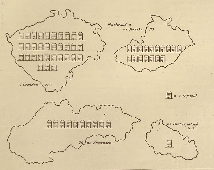 The Number & Regional Distribution of Czechoslovak Healthcare Institutions (based on the date of the Czechoslovak Office of National Statistics from 1933 when the total number reached 423) Source: Czechoslovak Hospital Journal, issue IV, 1934, p. 280