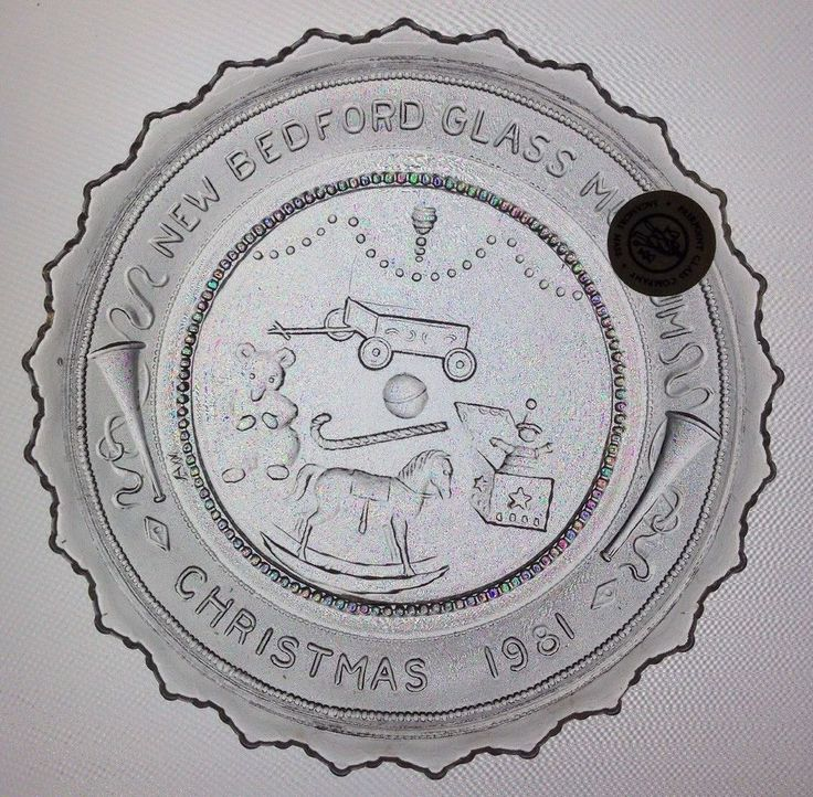 Toys in the Attic New Bedford Glass Museum '81 Xmas Pairpoint Cup Plate MA Glass #PairpointMtWashington