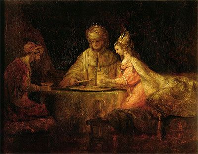 Rembrandt, Haman and Ahasueris at the Feast of Esther, 1659, Pushkin Museum, Moscow