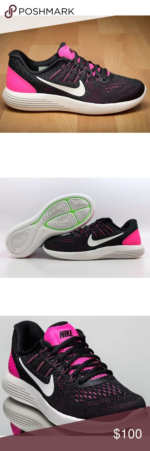 Women's Nike Lunarglide Black & Pink Sz 9 Women's Nike Lunarglide Black & Pink Sz 9. NIB. Never Worn. #843726 601. These shoes are so comfortable and perfect for any cross training activity. They are so adorable 🔥❗️ Nike Shoes Athletic Shoes