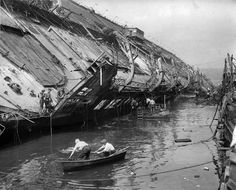 Remains of the SS Normandie after it was sunk by a construction fire. Source: Retronaut.