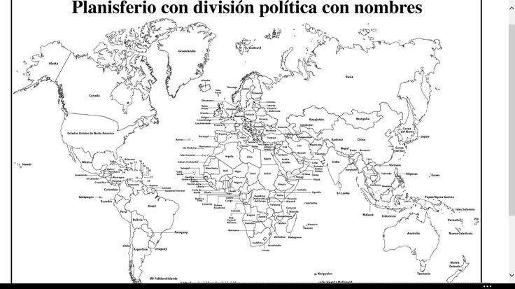 Resultado de imagen para mapamundi con nombres de los paises para