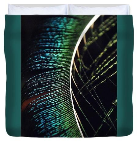 Peacock Feather Close Up - Duvet Cover
