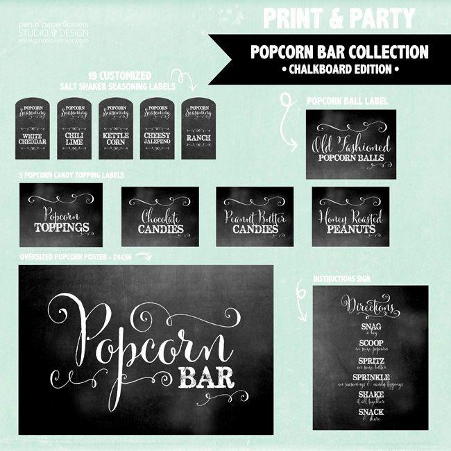 INSTANT DOWNLOAD Popcorn Bar Collection door penandpaperflowers