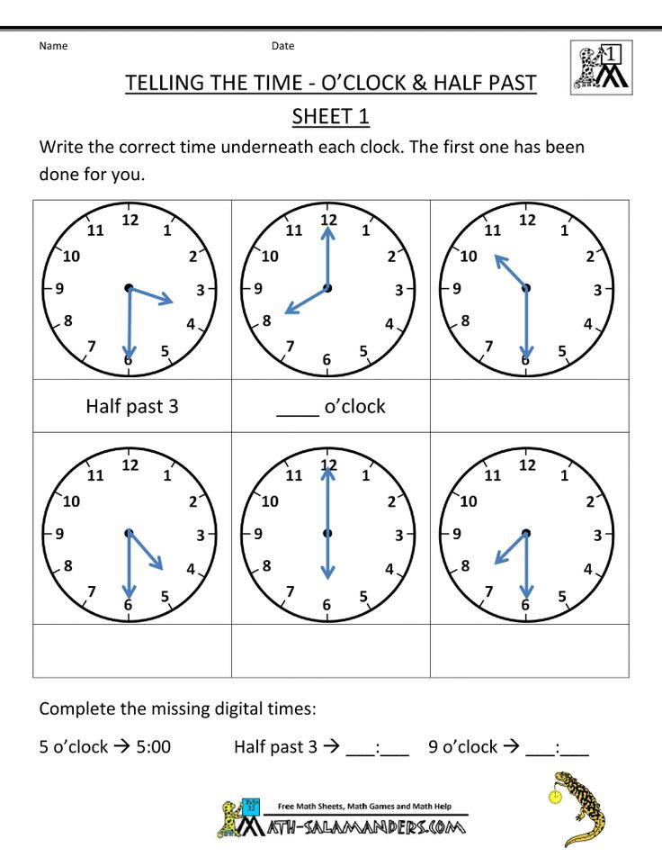 Telling Time Worksheets O'clock and Half past