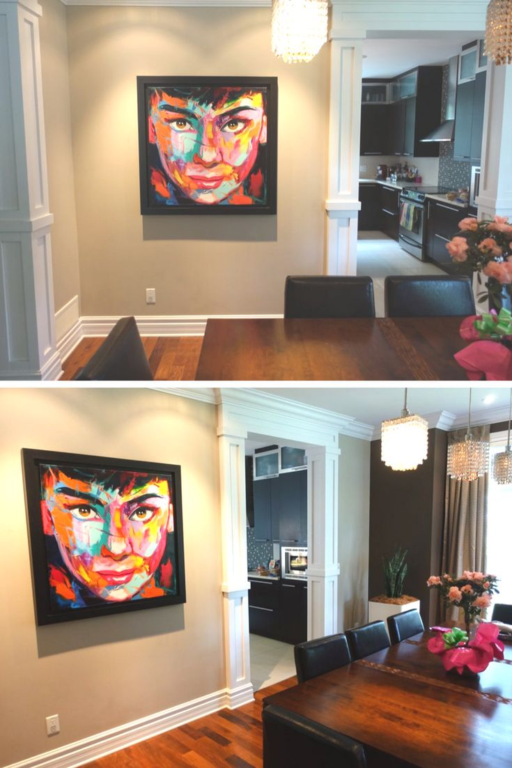 Audrey Hepburn, a Françoise Nielly's painting in our client's home    #HomeDecor #FrancoiseNielly #AudreyHepburn #PopArt #painting #paintings  #peinture #color #colors #colour