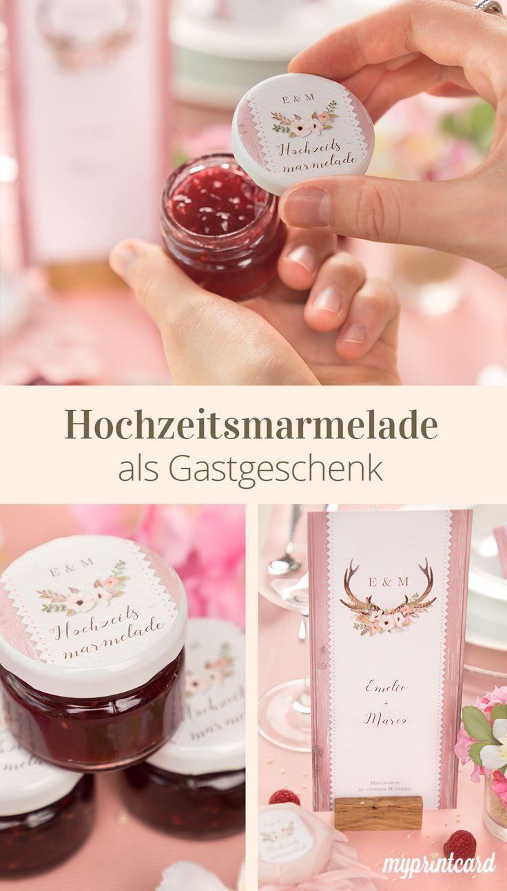 Hochzeitsmarmelade Aufkleber Machen Das Gastgeschenk Personlich Ein Susses Gastgeschenk Zu Diy Wedding Gifts Wedding Gift Favors