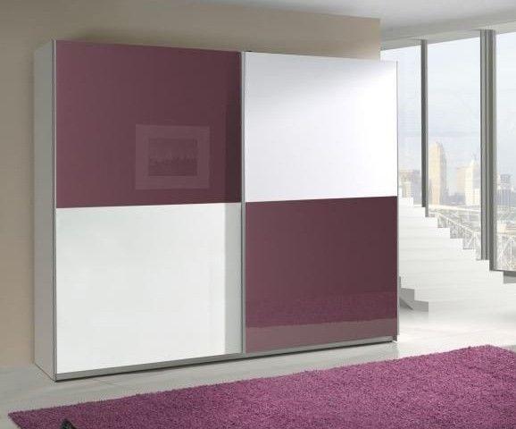 Presta violet 2 - violet and white gloss wardrobe
