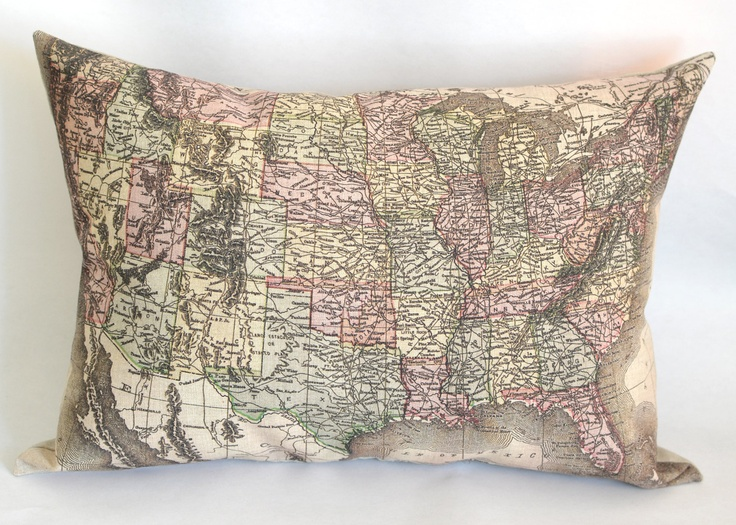 Accent pillow,decorative pillow vintage american map in size 11