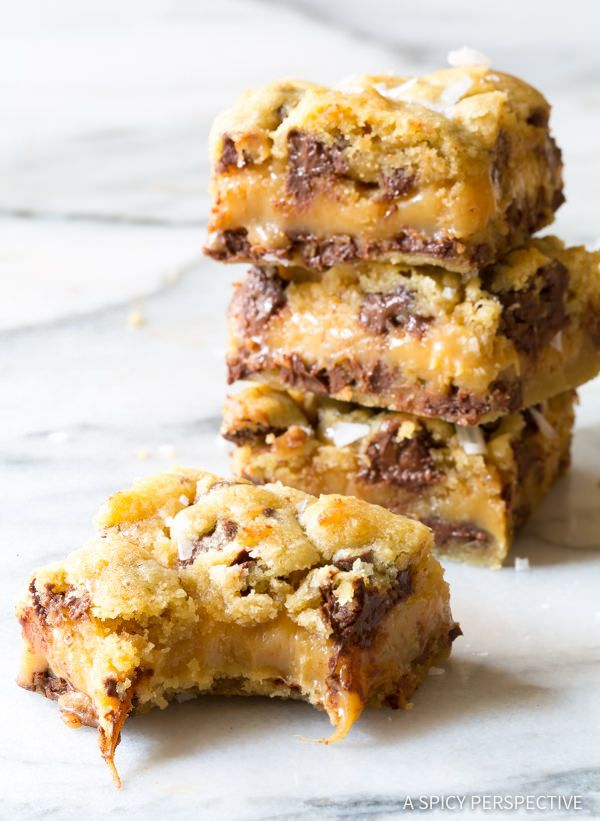 Awesome Gooey Salted Caramel Chocolate Chip Cookie Bars