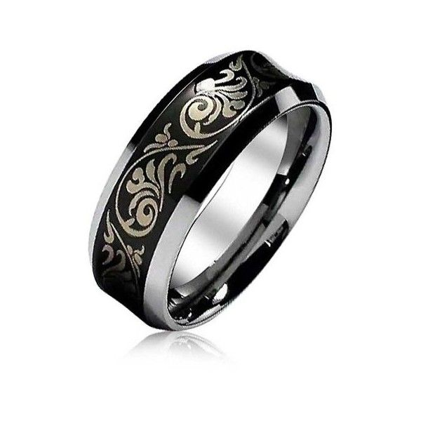 Bling Jewelry Florentine Design Concave Tungsten Wedding Ring 8mm ($19) ❤ liked on Polyvore featuring jewelry, rings, black, tungsten jewelry, black tungsten rings, band jewelry, tungsten rings and long rings