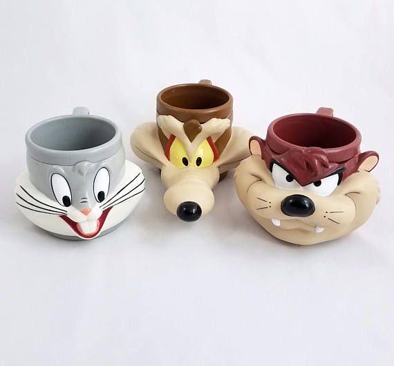 Vtg Warner Bros Looney Tunes 3D Plastic Mugs Lot Bugs Bunny