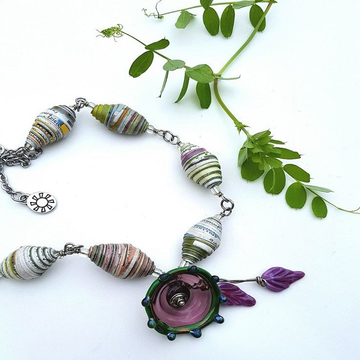Paper Flowers statement Necklace, Paper Beads, artisan Glass, Stainless Steel, womens jewelry