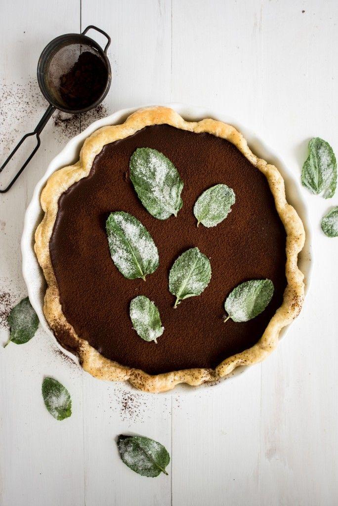 Dark Chocolate Mint Julep Pie