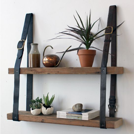 Repurpose belts into shelf support at Design Sponge, featured @totgreencrafts