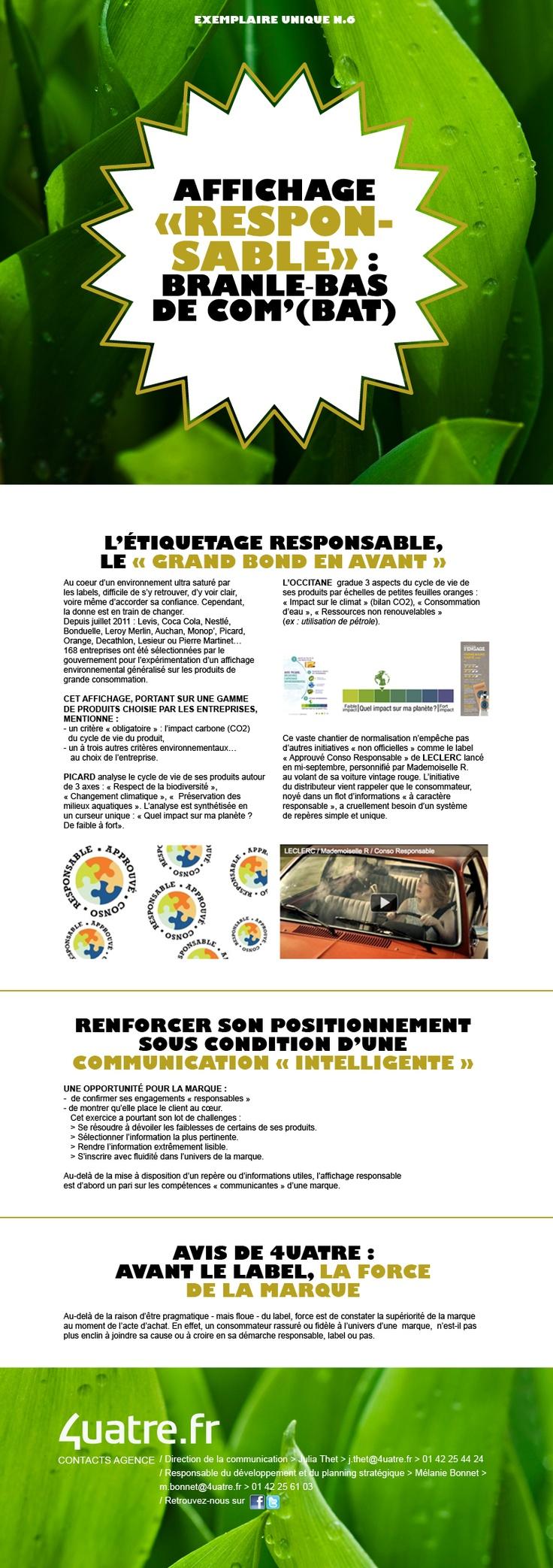 """Exemplaire Unique #6 - """"Affichage Responsable"""""""