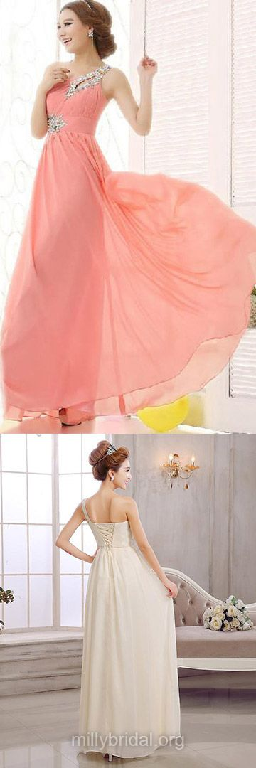 Long Prom Dresses, One Shoulder Formal Dresses, Chiffon with Beading Ankle-length Evening Party Gowns