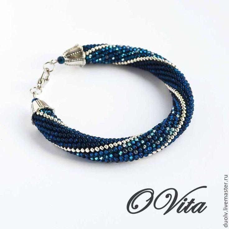 """Купить браслет-жгут из бисера """"Темно-синий"""" - синий, синий браслет, браслет, браслет-жгут"""