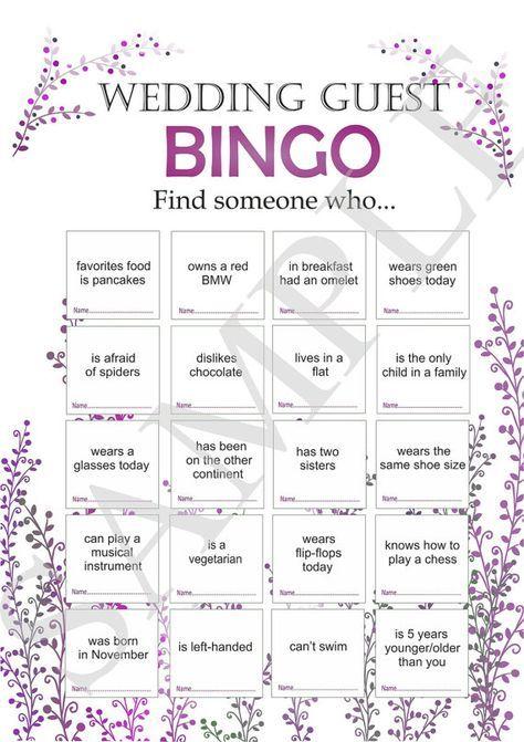 Wedding reception games, customized wedding game, wedding games for guests, printable bingo game, icebreaker for guests. wedding bingo