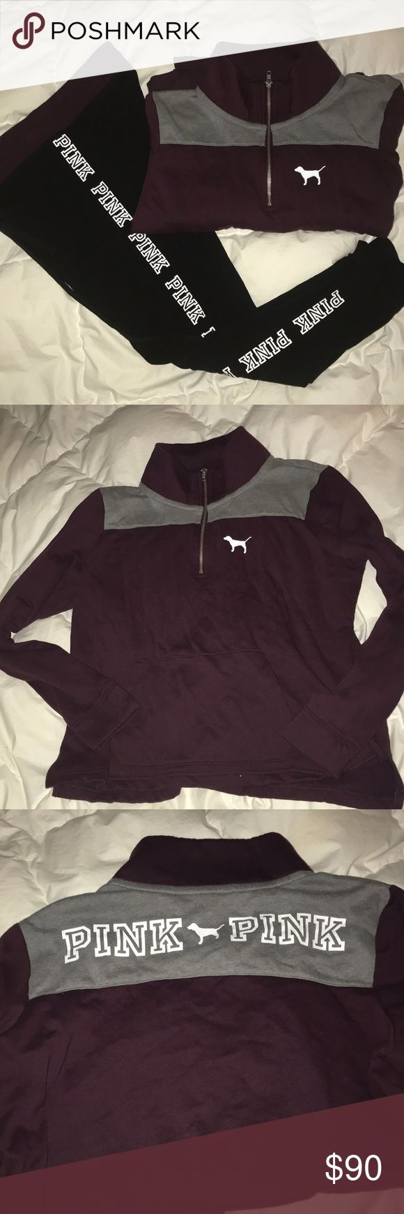 PINK joggers and half zip sweater Set  Comfy and cozy set. Like new. Smoke free pet free home.   Burgundy, grey, white and black. Both size large. PINK Victoria's Secret Other
