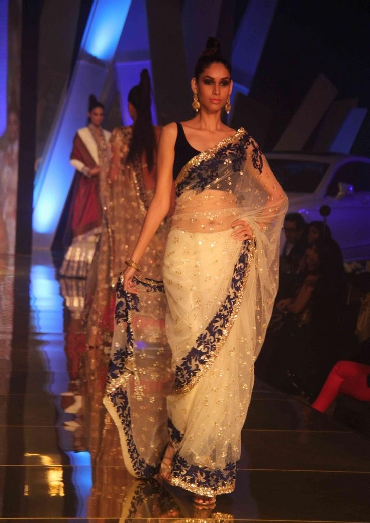 blue white and gold sari - Manish malhotra