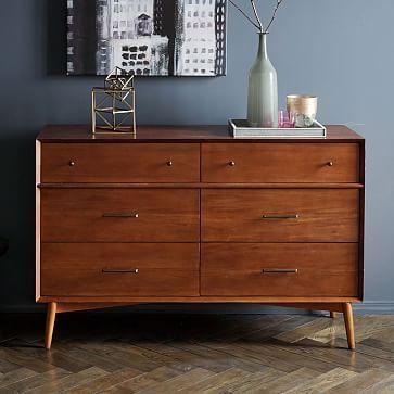 Mid-Century 6-Drawer Dresser - Acorn #westelm ($999-) to match drommen bed @ master bedroom