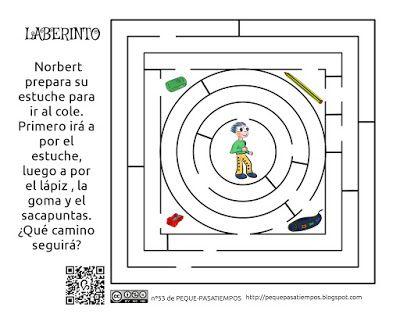 Peque-pasatiempos: Laberinto escolar - PEQUE-PASATIEMPOS nº53