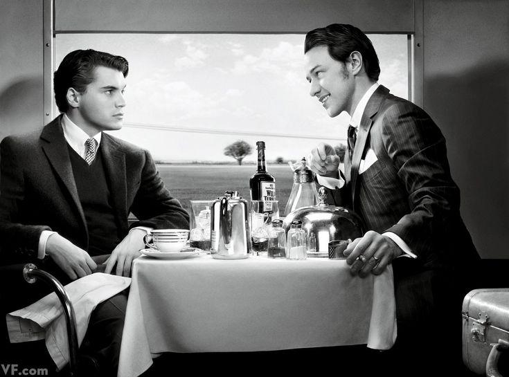 """Emilie Hirsch y James McAvoy fotografiados por Art Streiber. Los actores recrean una escena de """"Extraños en un tren"""" (Strangers on a train) (1951) de Hitchcock. Vestuario de la película: Leah Rodes"""